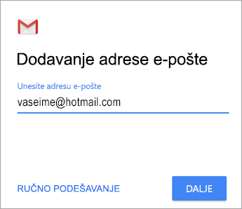 Dodavanje adrese e-pošte