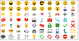 Dostupni emotikoni u programu Lync 2013