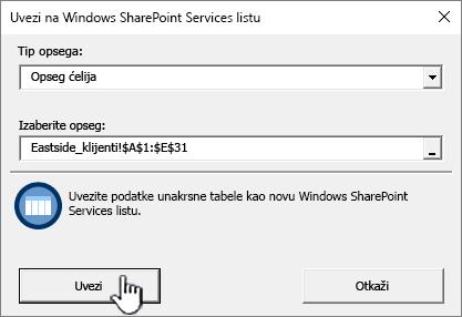 Uvoz unakrsne tabele dijalog za uvoz istaknuta