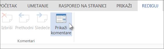 """Slika komande """"Prikaži komentare"""" u okviru kartice """"Komentari"""" u prikazu za čitanje programa Word Web App"""