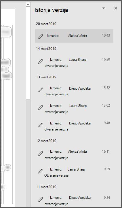"""Okno """"Istorija verzija"""" u sistemu Office prikazuje nekoliko prethodnih verzija datoteke"""