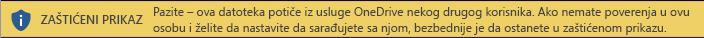 Zaštićeni prikaz za dokumente otvorene iz OneDrive skladišta drugog korisnika
