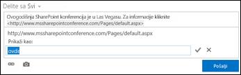 Veza veb stranice oblikovana tekstom za prikaz