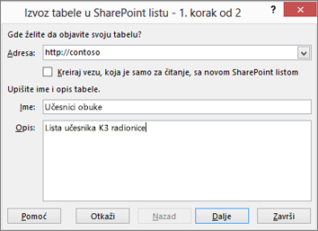 """Dijalog čarobnjaka """"Izvoz u SharePoint"""""""