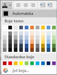 """Meni """"Boja fonta"""" u programu Excel za Windows računare."""