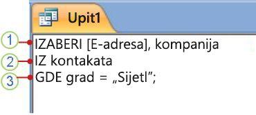 Kartica SQL objekta prikazuje instrukciju SELECT