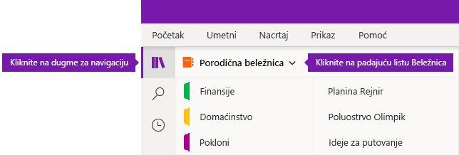 """Razvijanje liste """"Beležnica"""" u programu OneNote za Windows 10"""