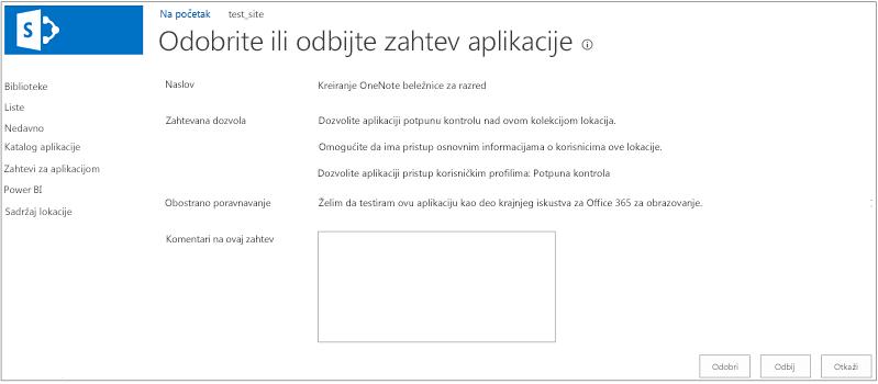 """Snimak ekrana koji prikazuje dijalog """"Odobri ili odbaci zahtev za aplikacijom"""""""