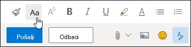 Snimak ekrana Font veličine opcija na traka sa alatkama oblikovanje.