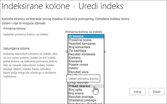 Uređivanje stranice indeks sa kolonom izabran iz padajućeg okvira
