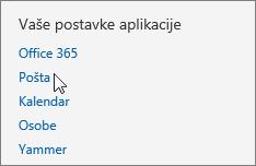 """Snimak ekrana odeljka """"Postavke aplikacije"""" u okviru """"Postavke"""" u programu Outlook Web App, sa kursorom postavljenim na opciju """"Pošta""""."""