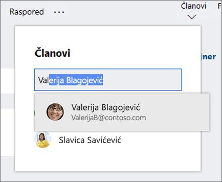 """Snimak ekrana liste """"Članovi"""" prilikom unosa imena novog člana plana."""