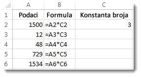 Podaci u koloni A, formule u koloni B i broj 3 u ćeliji C2