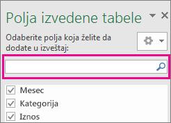 """Polje za pretragu u okviru """"Polje izvedene tabele"""""""