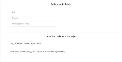 Hvatanje ekrana: koji prikazuje prilagođene pitanja izgleda za klijenta.