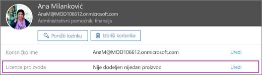Snimak ekrana prikazuje informacije za korisnika koji se zove ali Belew. Oblast licence proizvoda prikazuje da nema proizvoda dodelili za korisnika i opcija za uređivanje je dostupna.