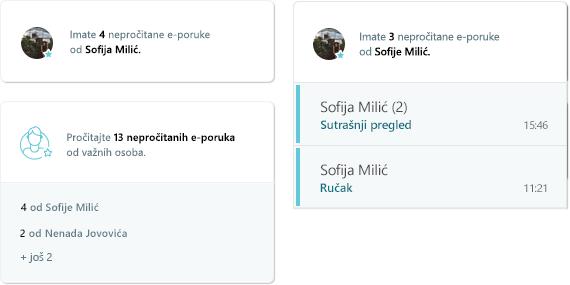 Snimak ekrana aktivnosti MyAnalytics e-pošte