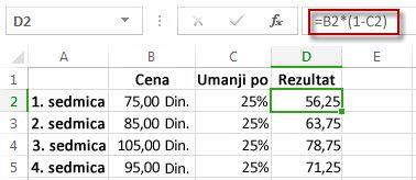 Rezultati u procentima u koloni D