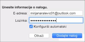 Dodavanje naloga e-pošte