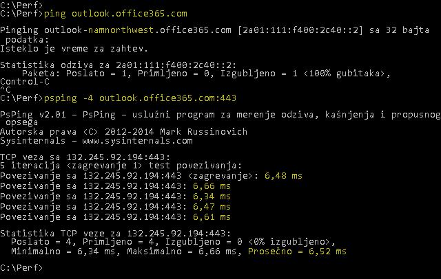 Snimak koji prikazuje ping ispravljanje outlook.office365.com i na PSPing sa 443 na isti način, ali i izveštavanja 6.5ms RTT prosečno.