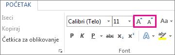 """Okvir """"Povećavanje i smanjivanje veličine fonta"""" na kartici """"Početak"""""""