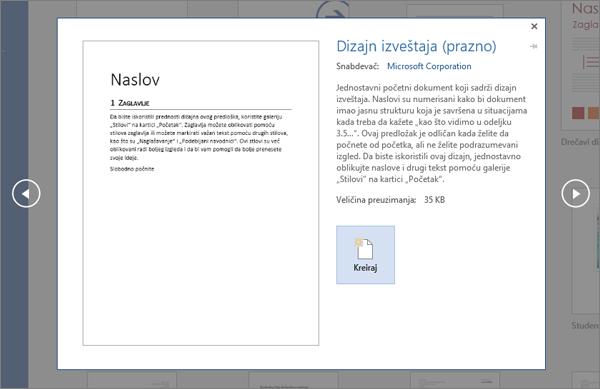 Prikazuje pregled predložak dizajna izveštaja u programu Word 2016.