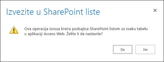 """Snimak ekrana dijaloga za potvrdu. Kada kliknete na """"Da"""", podaci se izvoze u SharePoint liste, a kada kliknete na """"Ne"""", otkazuje izvoz."""