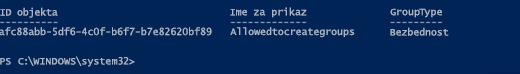 Informacije o grupi putem programa Azure AD PowerShell