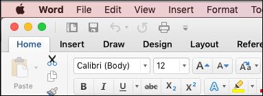 Traka u programu Word za Mac u klasičnoj temi