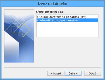 Outlook čarobnjak za izvoz – odaberite CSV datoteku
