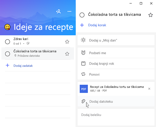 Snimak ekrana programa Microsoft to-do sa otvorenim detaljima i opcije za dodavanje istaknute datoteke