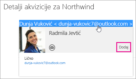 """Snimak ekrana dela e-poruke na stranici """"Outlook pošta"""". Pošiljalac poruke je istaknut i pojavljuje se kontakt kartica tog primaoca. Na kontakt kartici postoji oblačić za komandu """"Dodaj""""."""