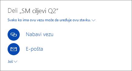 Snimak ekrana koji prikazuje kako se deli datoteka u usluzi OneDrive