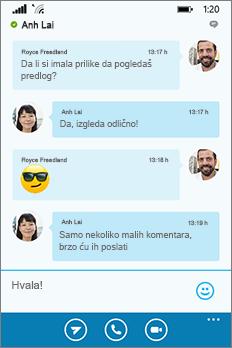 Novi Skype za posao za Windows Phone izgled i doživljaj – prozor razgovora