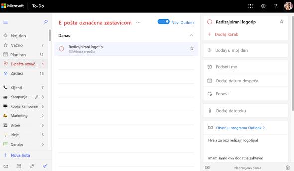 Snimak ekrana liste e-pošte označenih zastavicom otvorena i prikazuje prikaz detalja ponovnog dizajniranja logotipa. U prikazu detalja postoji opcija za otvaranje u programu Outlook, kao i pregled teksta e-pošte.