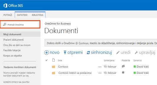 Snimak ekrana okvira za upit usluge One Drive u usluzi Office 365.