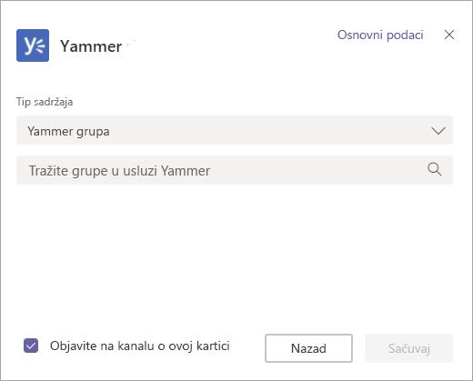 Ekran za izbor Yammer grupe da biste prikazali u timovima