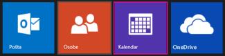 Outlook.com glavni meni – izbor prikaza kalendara