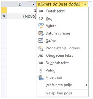 isečak ekrana kliknite na dugme da biste dodali podatke tip padajuću listu