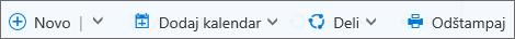 Komandna traka kalendara za Outlook.com