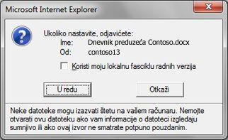 Okvir poruke koji nudi mogućnost zadržavanja odjavljene datoteke u lokalnoj fascikli sa radnim verzijama
