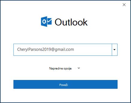 Unesite gmail adresu i izaberite stavku Poveži.