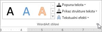"""Izbor dijaloga """"WordArt stilovi"""""""