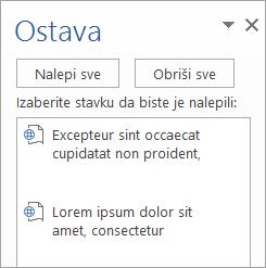 Prikazuje okno zadataka ostave sa kopiranim sadržajem
