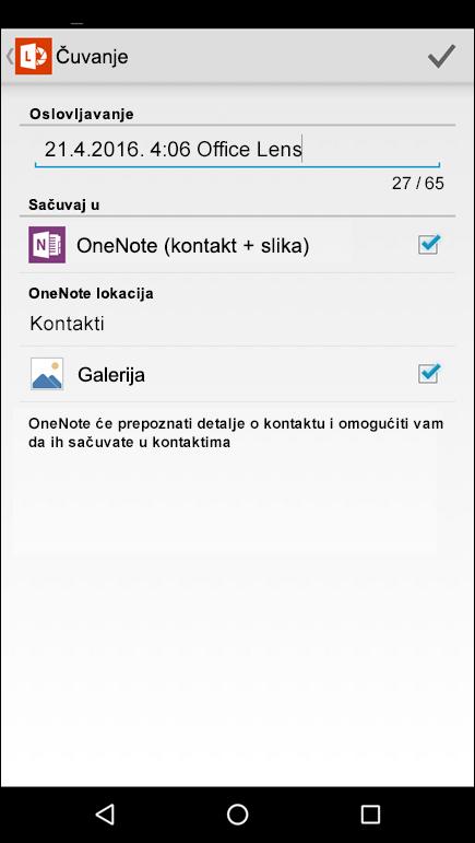 Snimak ekrana funkcije za izvoz u kontakte u aplikaciji Office Lens za Android.