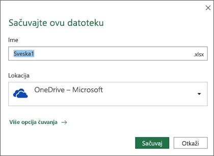 Dijalog čuvanja u programu Microsoft Excel za Office 365