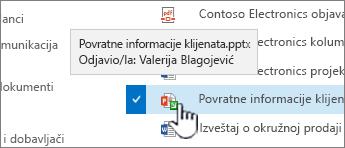 zadržite pokazivač iznad ikone sa zelenom strelicom i pogledajte ko ima odjavio datoteku.