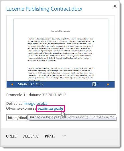 """Dijalog """"Svojstva"""" koji prikazuje da je dokument podeljen putem veze za goste."""