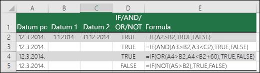 Primeri korišćenja funkcije IF sa AND, OR i NOT za proveru datuma