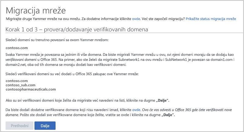 Snimak ekrana koraka 1. od 3 – Provera/dodavanje verifikovanih domena pre migriranja Yammer mreže